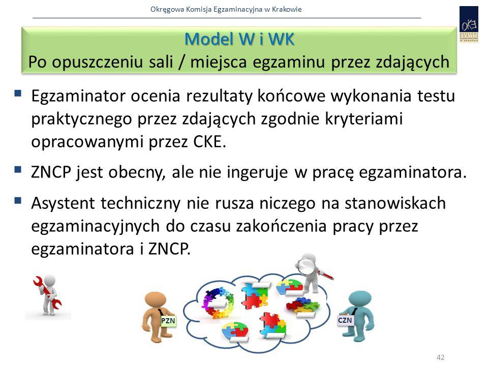 Okręgowa Komisja Egzaminacyjna w Krakowie  Egzaminator ocenia rezultaty końcowe wykonania testu praktycznego przez zdających zgodnie kryteriami oprac