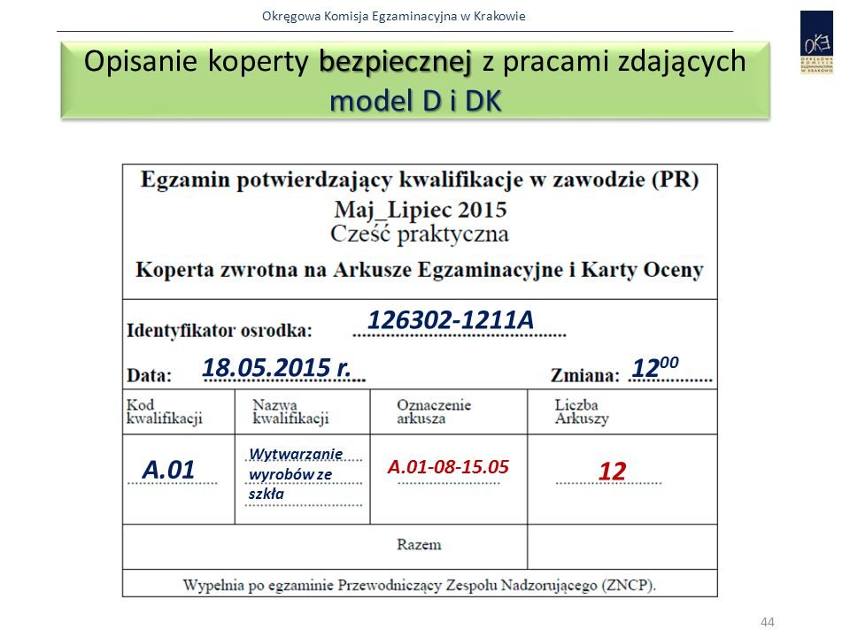Okręgowa Komisja Egzaminacyjna w Krakowie bezpiecznej model D i DK Opisanie koperty bezpiecznej z pracami zdających model D i DK 44 126302-1211A 18.05