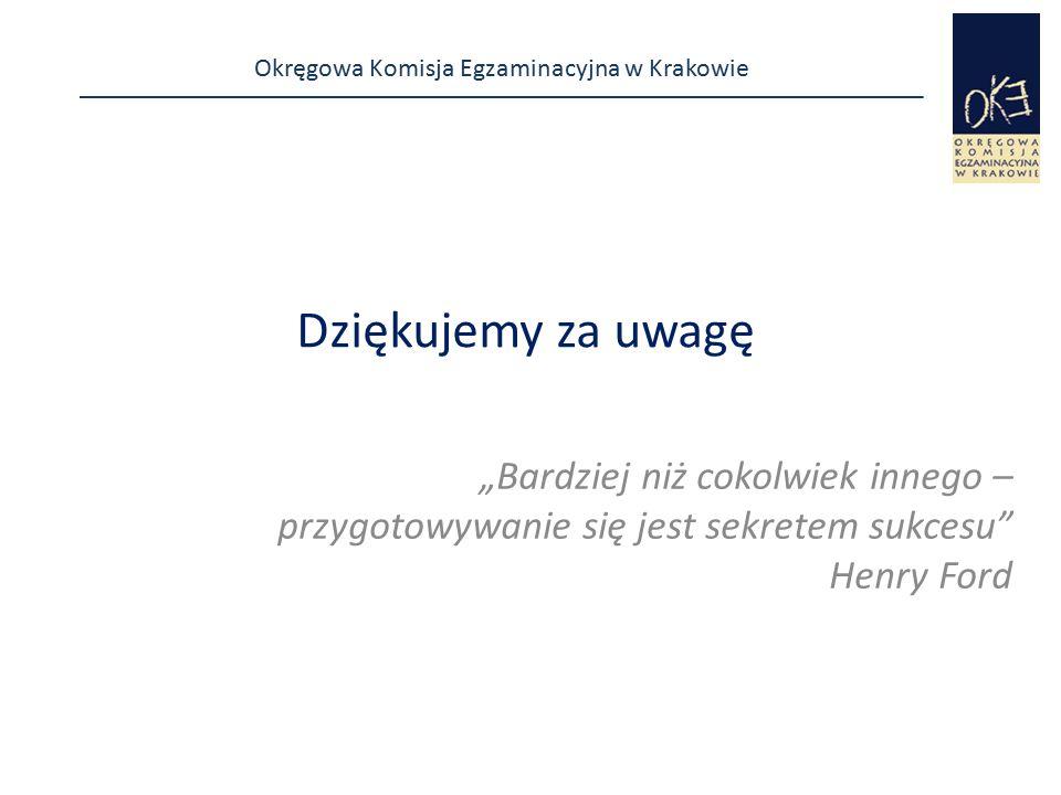 """Okręgowa Komisja Egzaminacyjna w Krakowie Dziękujemy za uwagę """"Bardziej niż cokolwiek innego – przygotowywanie się jest sekretem sukcesu"""" Henry Ford"""