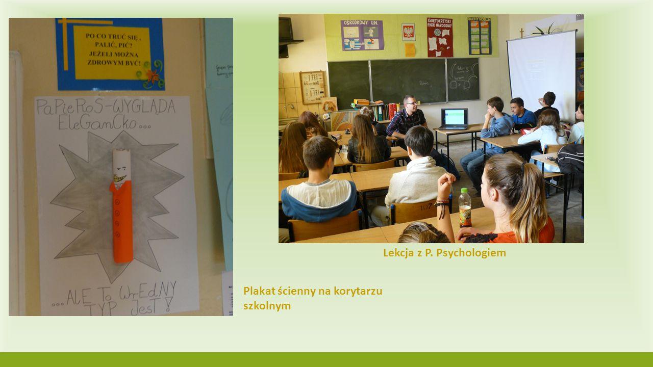 Lekcja z P. Psychologiem Plakat ścienny na korytarzu szkolnym