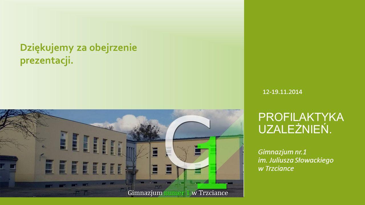 Gimnazjum nr.1 im. Juliusza Słowackiego w Trzciance PROFILAKTYKA UZALEŻNIEŃ. 12-19.11.2014 Dziękujemy za obejrzenie prezentacji.
