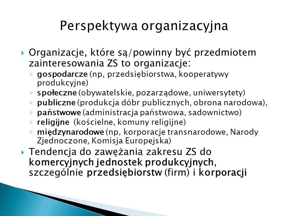 Organizacje, które są/powinny być przedmiotem zainteresowania ZS to organizacje : ◦ gospodarcze (np, przedsiębiorstwa, kooperatywy produkcyjne) ◦ sp