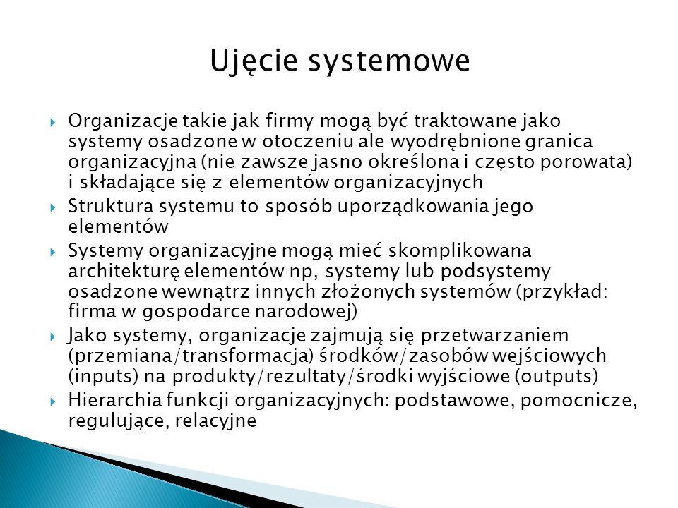  Organizacje takie jak firmy mogą być traktowane jako systemy osadzone w otoczeniu ale wyodrębnione granica organizacyjna (nie zawsze jasno określona
