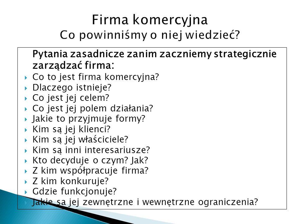 Pytania zasadnicze zanim zaczniemy strategicznie zarządzać firma :  Co to jest firma komercyjna?  Dlaczego istnieje?  Co jest jej celem?  Co jest