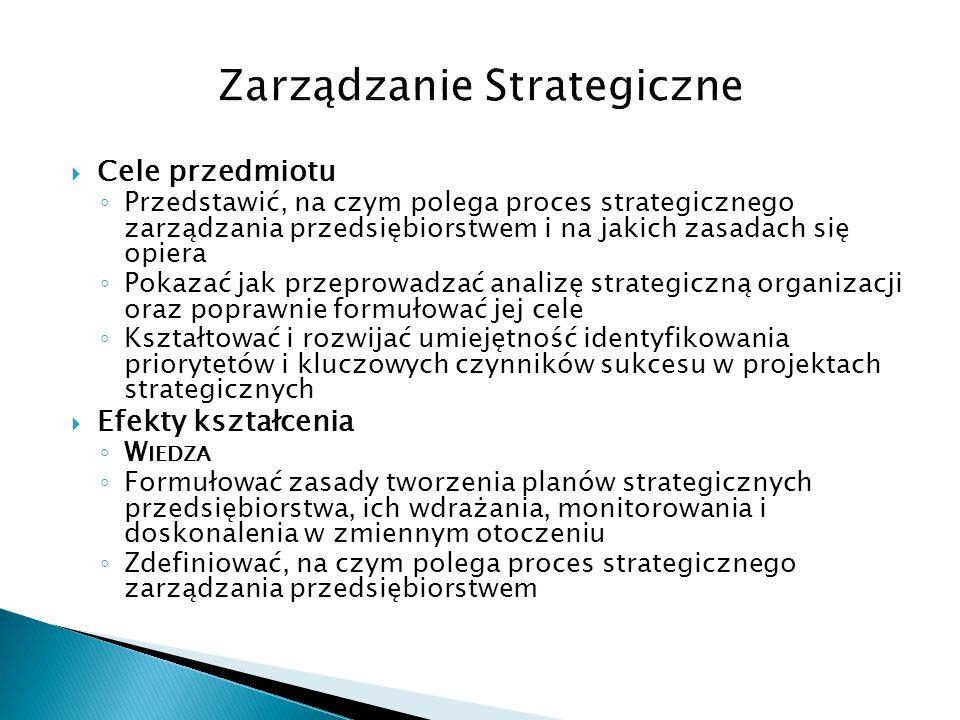  Cele przedmiotu ◦ Przedstawić, na czym polega proces strategicznego zarządzania przedsiębiorstwem i na jakich zasadach się opiera ◦ Pokazać jak prze