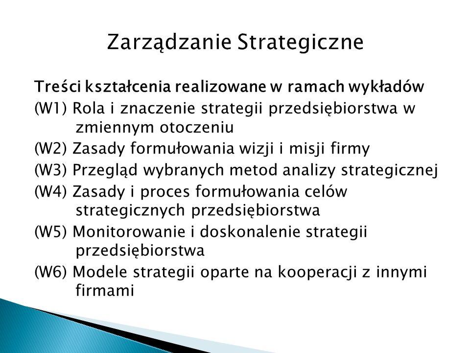 Treści kształcenia realizowane w ramach wykładów (W1) Rola i znaczenie strategii przedsiębiorstwa w zmiennym otoczeniu (W2) Zasady formułowania wizji