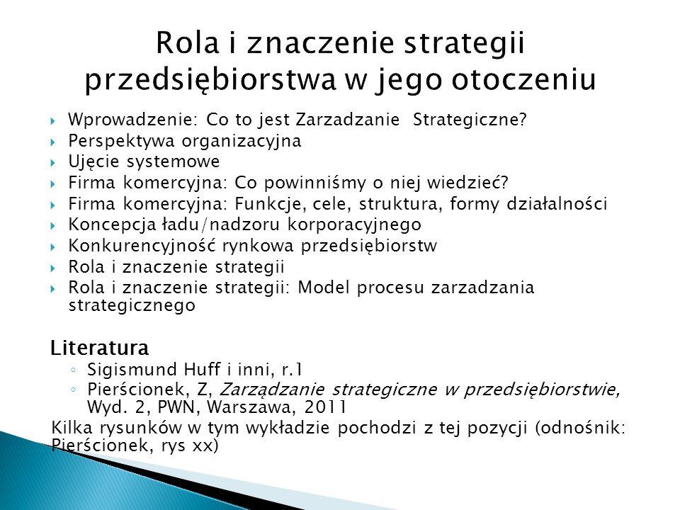  Wprowadzenie: Co to jest Zarzadzanie Strategiczne?  Perspektywa organizacyjna  Ujęcie systemowe  Firma komercyjna: Co powinniśmy o niej wiedzieć?