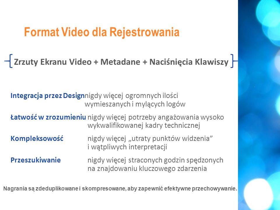 """Zrzuty Ekranu Video + Metadane + Naciśnięcia Klawiszy Integracja przez Designnigdy więcej ogromnych ilości wymieszanych i mylących logów Łatwość w zrozumieniunigdy więcej potrzeby angażowania wysoko wykwalifikowanej kadry technicznej Kompleksowość nigdy więcej """"utraty punktów widzenia i wątpliwych interpretacji Przeszukiwanienigdy więcej straconych godzin spędzonych na znajdowaniu kluczowego zdarzenia Format Video dla Rejestrowania Nagrania są zdeduplikowane i skompresowane, aby zapewnić efektywne przechowywanie."""