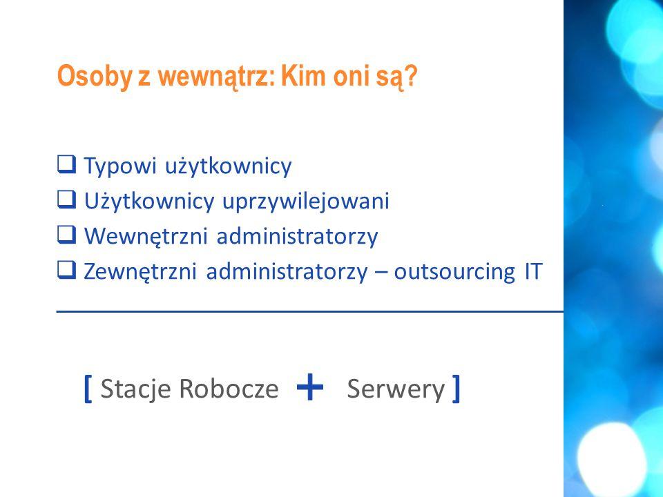  Typowi użytkownicy  Użytkownicy uprzywilejowani  Wewnętrzni administratorzy  Zewnętrzni administratorzy – outsourcing IT [ Stacje RoboczeSerwery ] Osoby z wewnątrz: Kim oni są