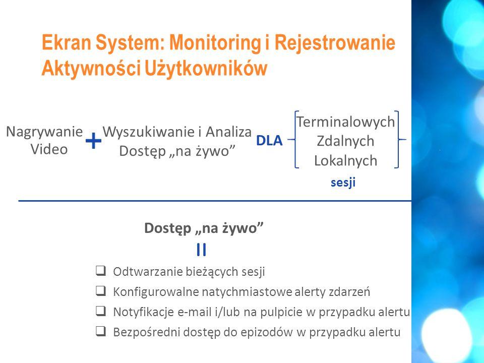 """ Uniwersalne pokrycie (Citrix, TS, VNC, Remote Desktop, itd.)  1 agent na serwerze do rejestrowania nawet do 100 jednoczesnych sesji  Agent przechowuje nagrania video lokalnie, kiedy jest offline  Nagrania wszystkich sesji w jednym miejscu dla jednolitej analizy Ekran System: Monitoring i Rejestrowanie Aktywności Użytkowników Terminalowe + Zdalne + Lokalne = Terminalowych Zdalnych Lokalnych Wyszukiwanie i Analiza Dostęp """"na żywo sesji DLA Nagrywanie Video"""