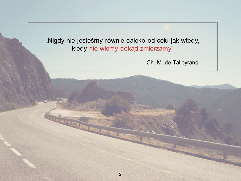 """2 """"Nigdy nie jesteśmy równie daleko od celu jak wtedy, kiedy nie wiemy dokąd zmierzamy"""" Ch. M. de Talleyrand"""