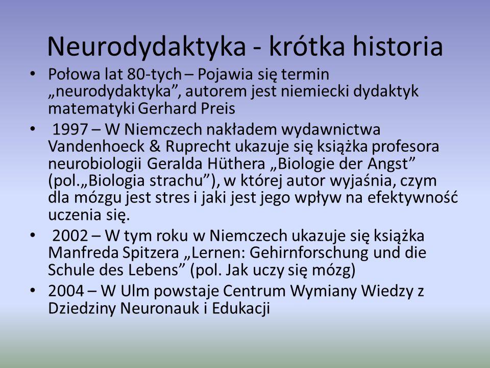 """Neurodydaktyka w praktyce 2007 – w Berlinie zaczyna się edukacyjny eksperyment pod nazwą """"Budząca się Szkoła , którego inicjatorami są Margret Rasfeld, Stephan Breidenbach i neurobiolog Gerald Hüther."""