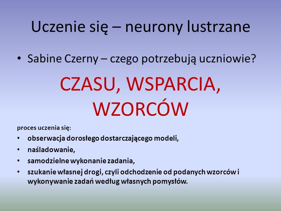 Uczenie się – neurony lustrzane Sabine Czerny – czego potrzebują uczniowie? CZASU, WSPARCIA, WZORCÓW proces uczenia się : obserwacja dorosłego dostarc