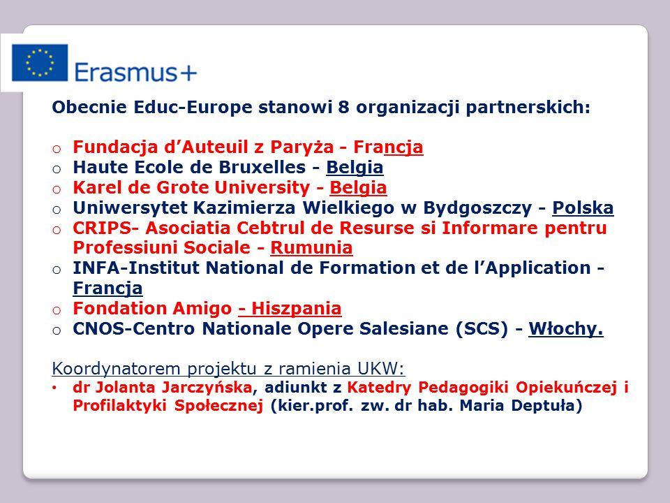 Członkowie Educ–Europe opracowali projekt w logice transferu innowacji, w duchu współpracy i z potrzebą wprowadzania trwałych zmian dotyczących sposobów wspierania beneficjentów działań społecznych oraz innowacji w zakresie metodologii szkolenia i badań.