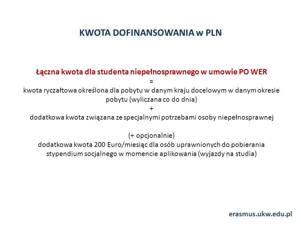 KWOTA DOFINANSOWANIA w PLN erasmus.ukw.edu.pl Łączna kwota dla studenta niepełnosprawnego w umowie PO WER = kwota ryczałtowa określona dla pobytu w danym kraju docelowym w danym okresie pobytu (wyliczana co do dnia) + dodatkowa kwota związana ze specjalnymi potrzebami osoby niepełnosprawnej (+ opcjonalnie) dodatkowa kwota 200 Euro/miesiąc dla osób uprawnionych do pobierania stypendium socjalnego w momencie aplikowania (wyjazdy na studia)