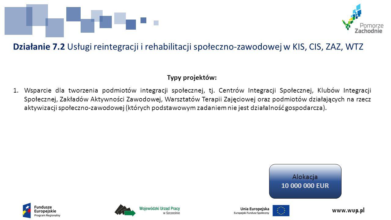 www.wup.pl Działanie 7.2 Usługi reintegracji i rehabilitacji społeczno-zawodowej w KIS, CIS, ZAZ, WTZ Typy projektów: 1.Wsparcie dla tworzenia podmiotów integracji społecznej, tj.
