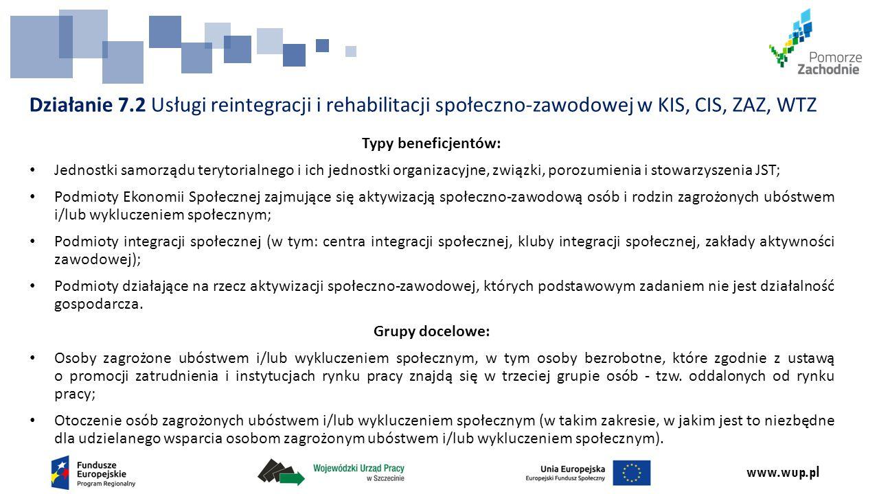 www.wup.pl Typy beneficjentów: Jednostki samorządu terytorialnego i ich jednostki organizacyjne, związki, porozumienia i stowarzyszenia JST; Podmioty