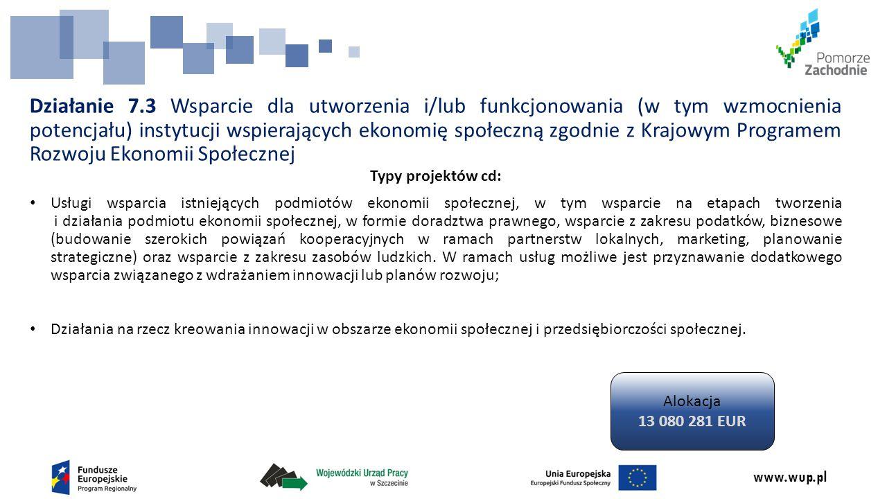 www.wup.pl Działanie 7.3 Wsparcie dla utworzenia i/lub funkcjonowania (w tym wzmocnienia potencjału) instytucji wspierających ekonomię społeczną zgodnie z Krajowym Programem Rozwoju Ekonomii Społecznej Typy projektów cd: Usługi wsparcia istniejących podmiotów ekonomii społecznej, w tym wsparcie na etapach tworzenia i działania podmiotu ekonomii społecznej, w formie doradztwa prawnego, wsparcie z zakresu podatków, biznesowe (budowanie szerokich powiązań kooperacyjnych w ramach partnerstw lokalnych, marketing, planowanie strategiczne) oraz wsparcie z zakresu zasobów ludzkich.