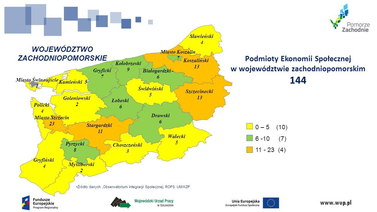 www.wup.pl WOJEWÓDZTWO ZACHODNIOPOMORSKIE Podmioty Ekonomii Społecznej w województwie zachodniopomorskim 144 Białogardzki - 6 Choszczeński 3 Drawski 6
