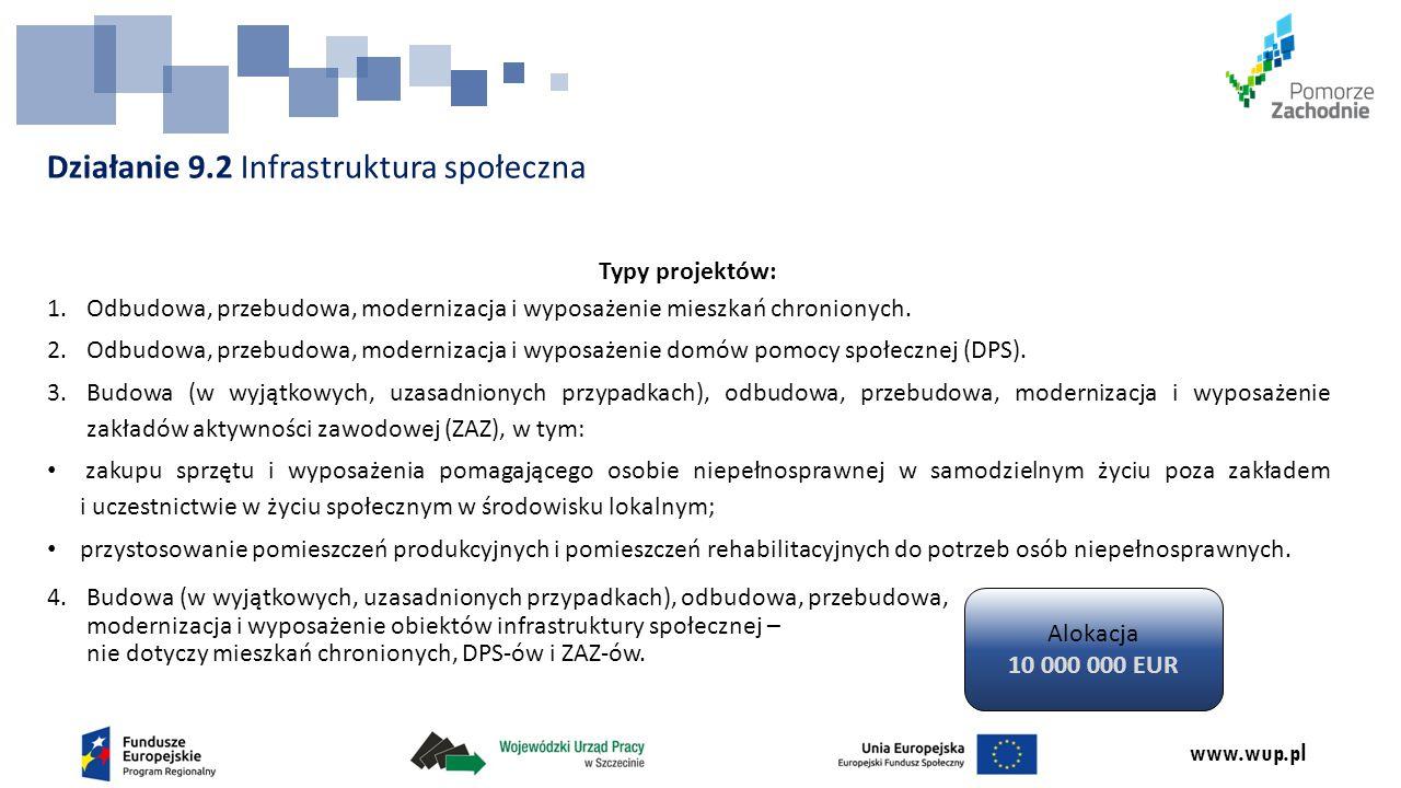 www.wup.pl Działanie 9.2 Infrastruktura społeczna Typy projektów: 1.Odbudowa, przebudowa, modernizacja i wyposażenie mieszkań chronionych. 2.Odbudowa,