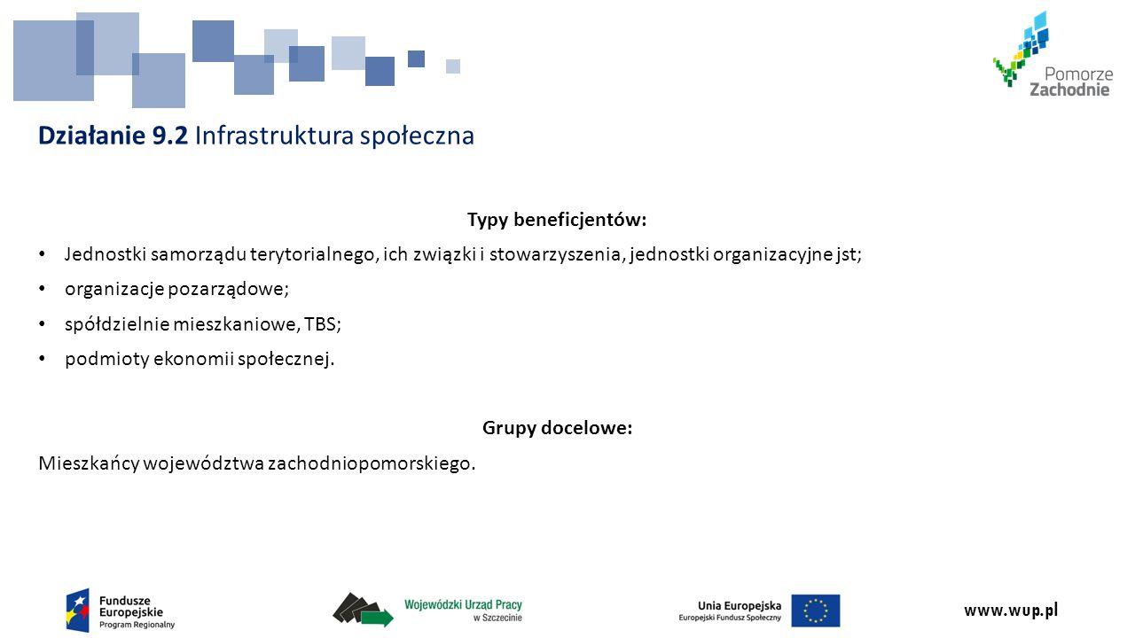 www.wup.pl Działanie 9.2 Infrastruktura społeczna Typy beneficjentów: Jednostki samorządu terytorialnego, ich związki i stowarzyszenia, jednostki organizacyjne jst; organizacje pozarządowe; spółdzielnie mieszkaniowe, TBS; podmioty ekonomii społecznej.