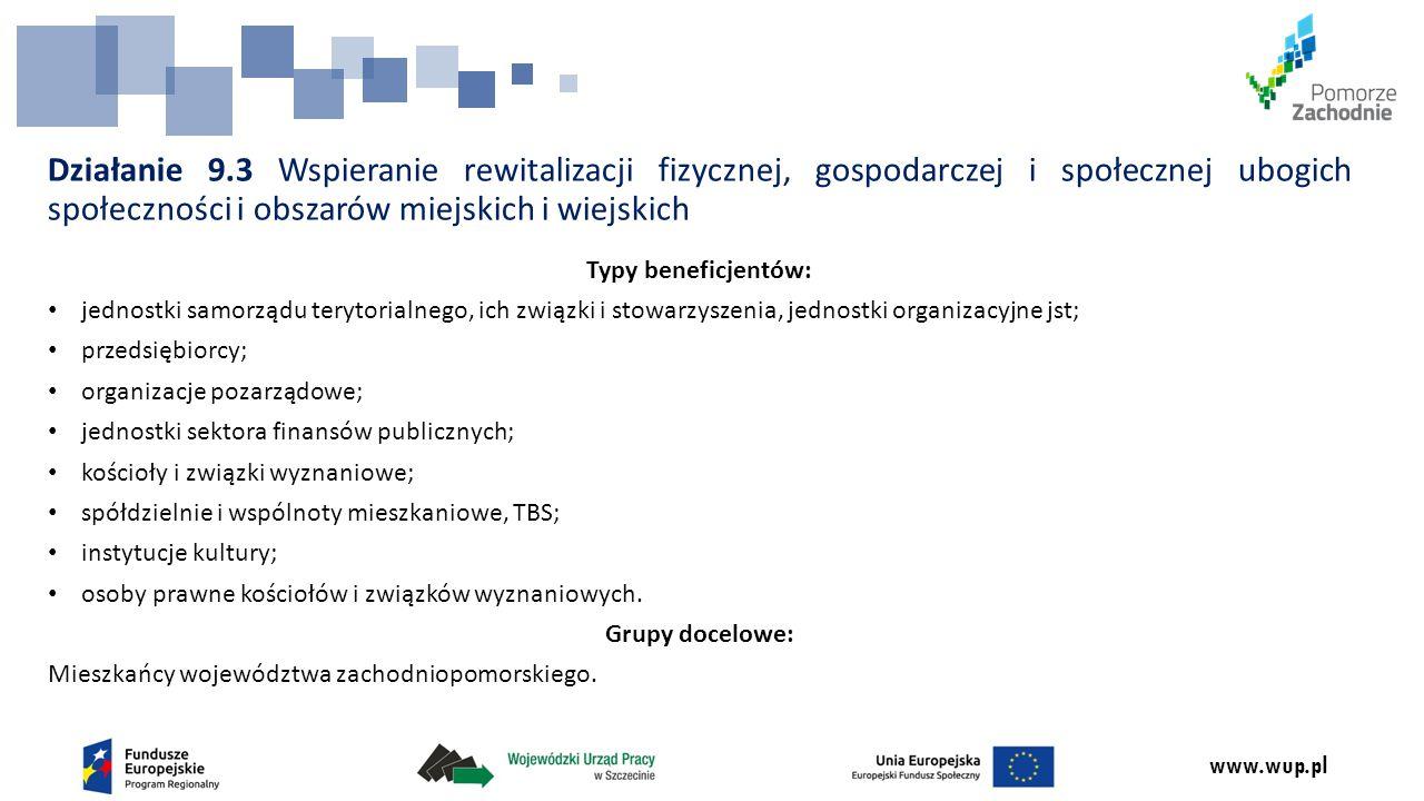 www.wup.pl Działanie 9.3 Wspieranie rewitalizacji fizycznej, gospodarczej i społecznej ubogich społeczności i obszarów miejskich i wiejskich Typy bene