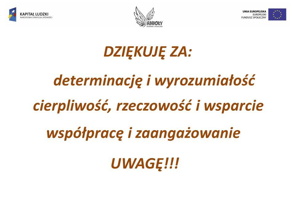 DZIĘKUJĘ ZA: współpracę i zaangażowanie cierpliwość, rzeczowość i wsparcie determinację i wyrozumiałość UWAGĘ!!!