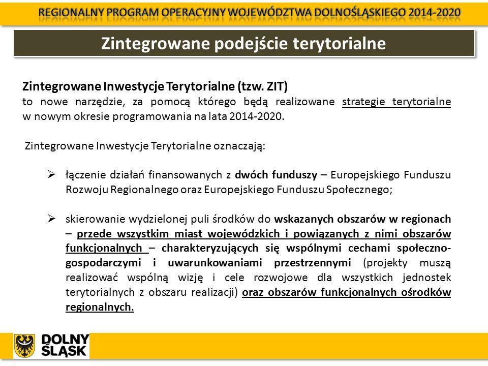Zintegrowane podejście terytorialne Zintegrowane Inwestycje Terytorialne (tzw. ZIT) to nowe narzędzie, za pomocą którego będą realizowane strategie te