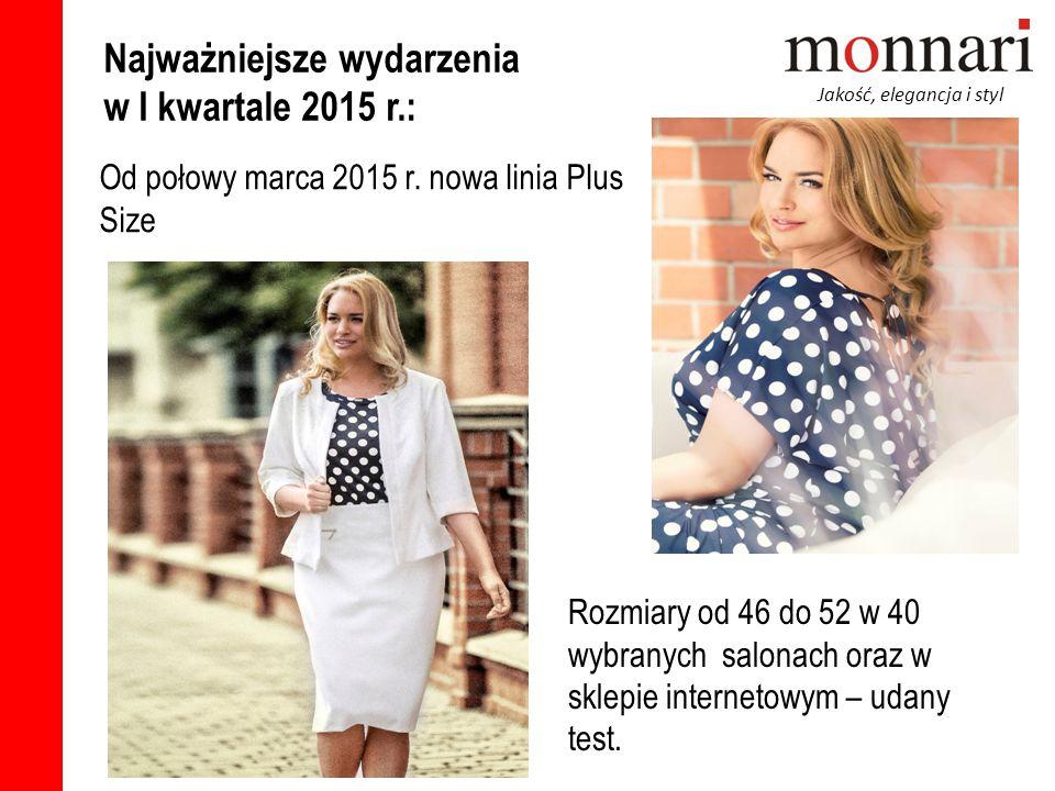 Jakość, elegancja i styl Od połowy marca 2015 r. nowa linia Plus Size Najważniejsze wydarzenia w I kwartale 2015 r.: Rozmiary od 46 do 52 w 40 wybrany