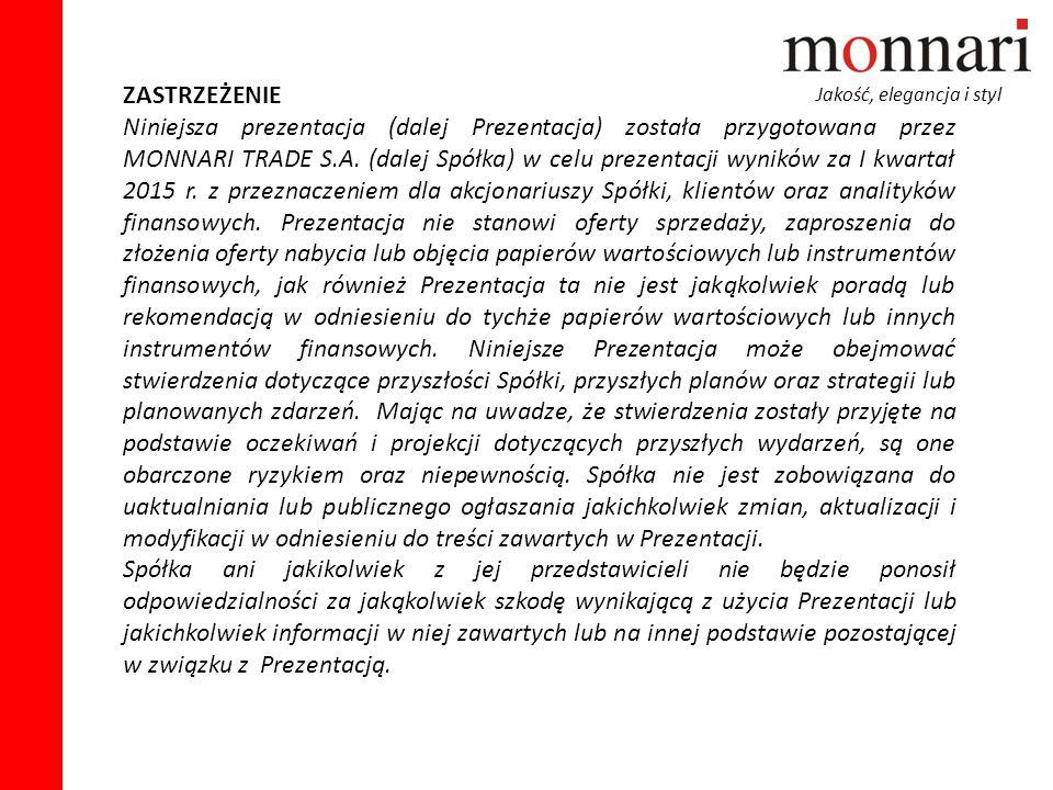 Jakość, elegancja i styl ZASTRZEŻENIE Niniejsza prezentacja (dalej Prezentacja) została przygotowana przez MONNARI TRADE S.A. (dalej Spółka) w celu pr