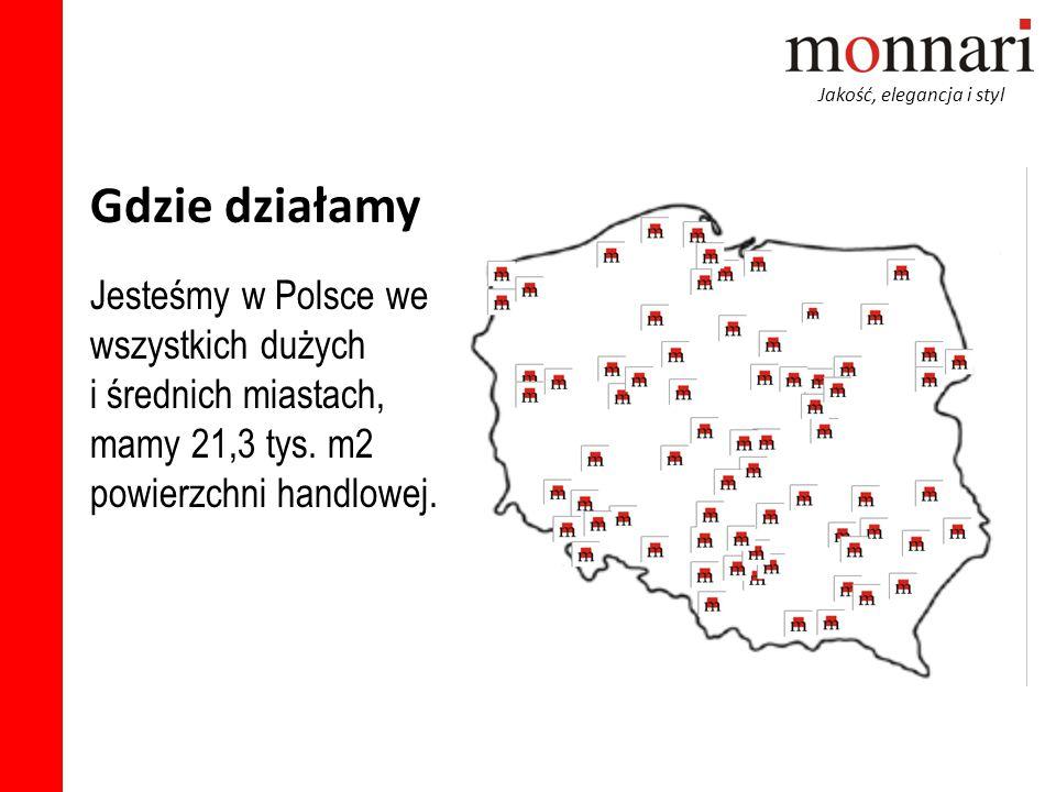 Gdzie działamy Jesteśmy w Polsce we wszystkich dużych i średnich miastach, mamy 21,3 tys. m2 powierzchni handlowej.