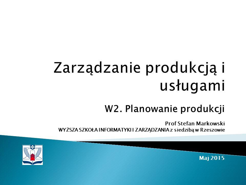  Rola planowania w sterowaniu produkcją  Planowanie produkcji  Proces produkcyjny w łańcuchu dostaw  Procedury opracowywania planów produkcyjnych  Literatura ◦ Rogowski, r.3 ◦ Pajak, r.2 ◦ Waters, czesc II, r.4, 11, 12 ◦ Wiekszość ilustracji w tym wykładzie pochodzi z książki Edwarda Pająka, Zarządzanie produkcją, PWN 2006 (odnośnik: Pająk, rys.