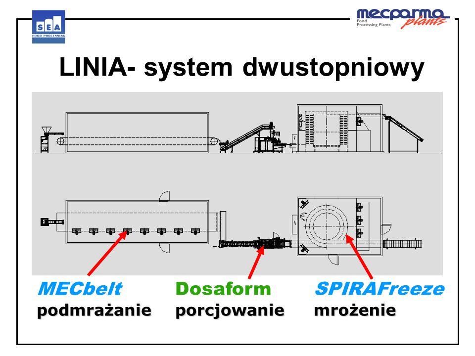 podmrażanie MECbelt podmrażanie LINIA- system dwustopniowy porcjowanie Dosaform porcjowanie mrożenie SPIRAFreeze mrożenie
