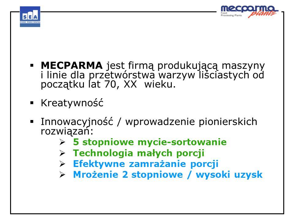  MECPARMA jest firmą produkującą maszyny i linie dla przetwórstwa warzyw liściastych od początku lat 70, XX wieku.