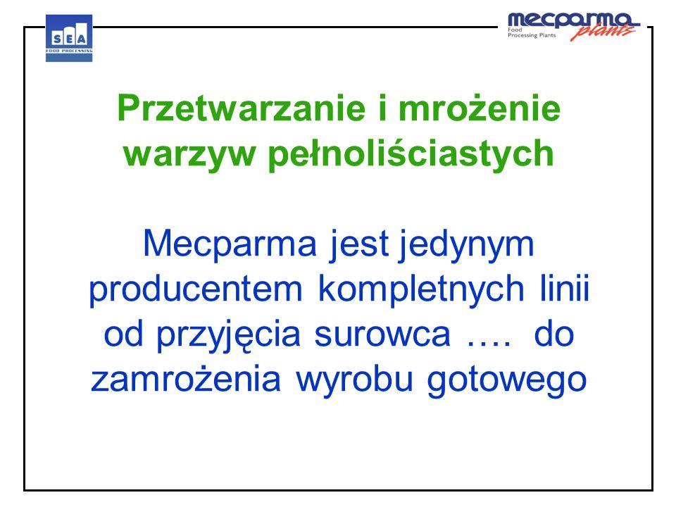 Przetwarzanie i mrożenie warzyw pełnoliściastych Mecparma jest jedynym producentem kompletnych linii od przyjęcia surowca ….