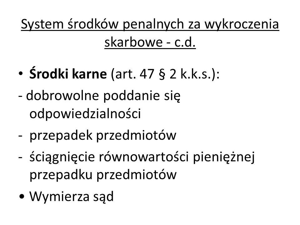 System środków penalnych za wykroczenia skarbowe - c.d. Środki karne (art. 47 § 2 k.k.s.): - dobrowolne poddanie się odpowiedzialności -przepadek prze