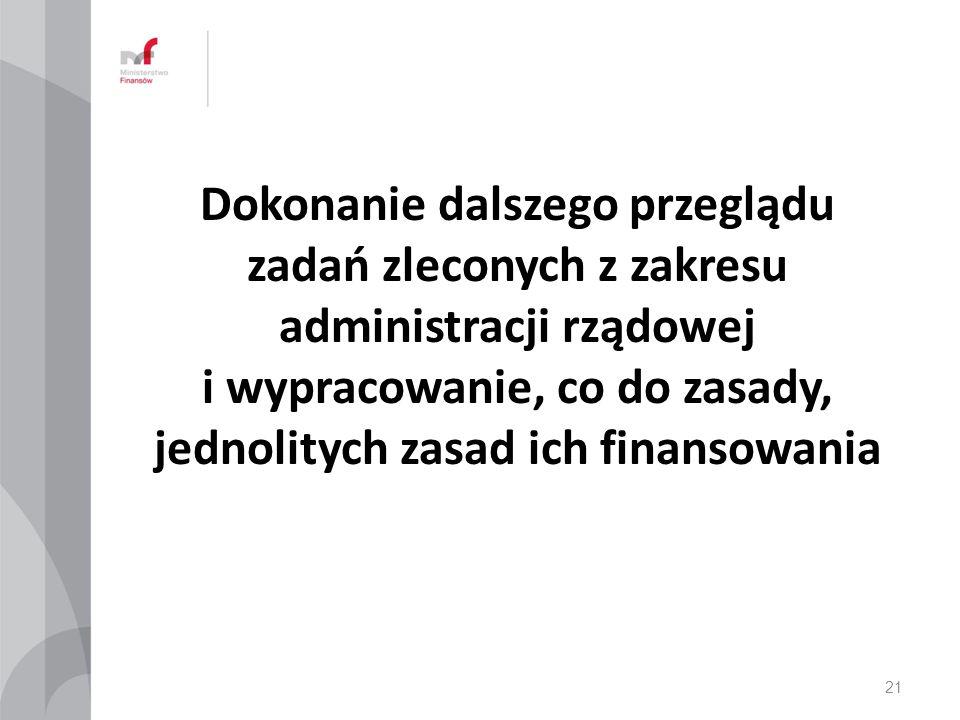 Dokonanie dalszego przeglądu zadań zleconych z zakresu administracji rządowej i wypracowanie, co do zasady, jednolitych zasad ich finansowania 21