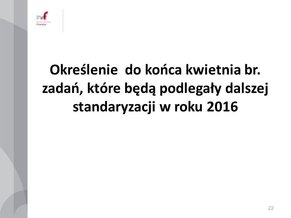 Określenie do końca kwietnia br. zadań, które będą podlegały dalszej standaryzacji w roku 2016 22