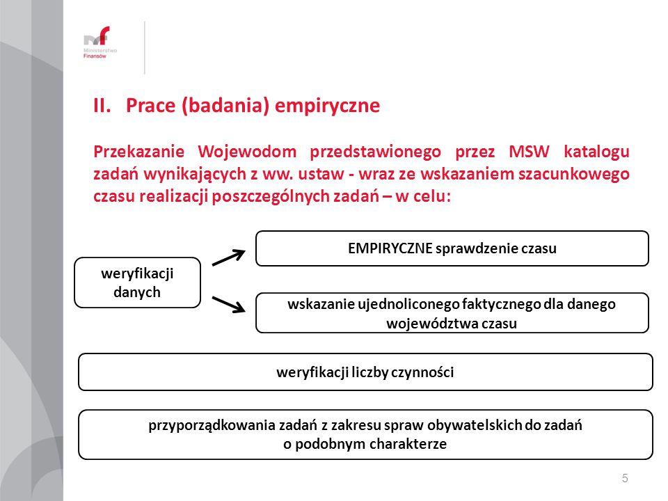II. Prace (badania) empiryczne Przekazanie Wojewodom przedstawionego przez MSW katalogu zadań wynikających z ww. ustaw - wraz ze wskazaniem szacunkowe