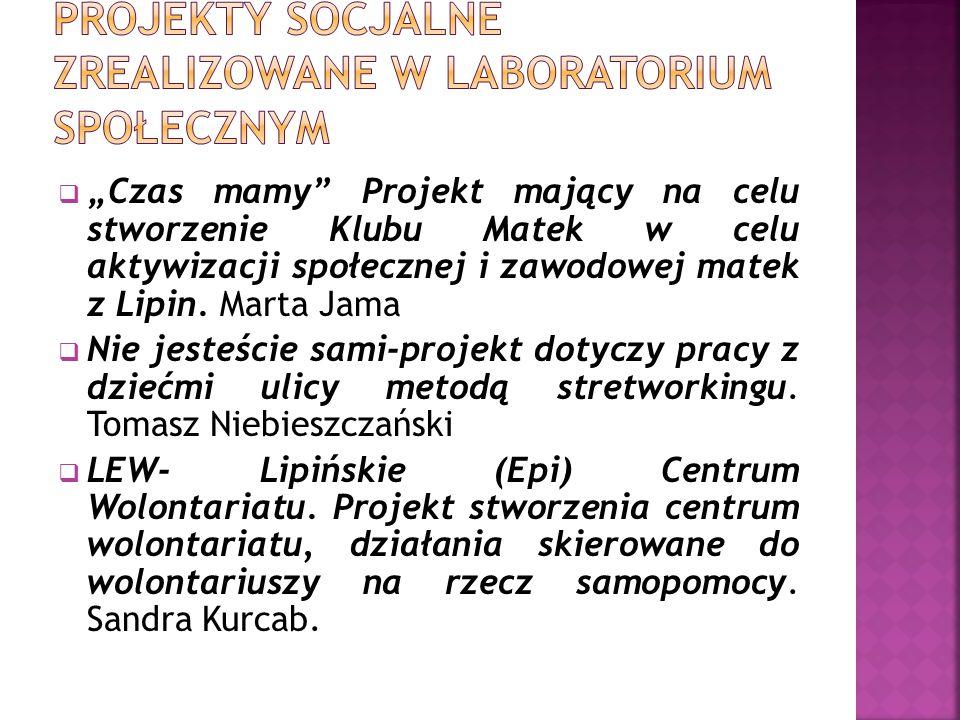 """ """"Czas mamy"""" Projekt mający na celu stworzenie Klubu Matek w celu aktywizacji społecznej i zawodowej matek z Lipin. Marta Jama  Nie jesteście sami-p"""
