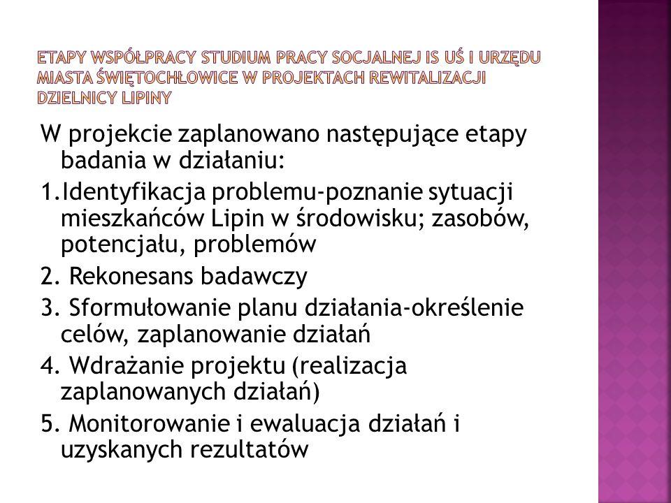 W projekcie zaplanowano następujące etapy badania w działaniu: 1.Identyfikacja problemu-poznanie sytuacji mieszkańców Lipin w środowisku; zasobów, pot