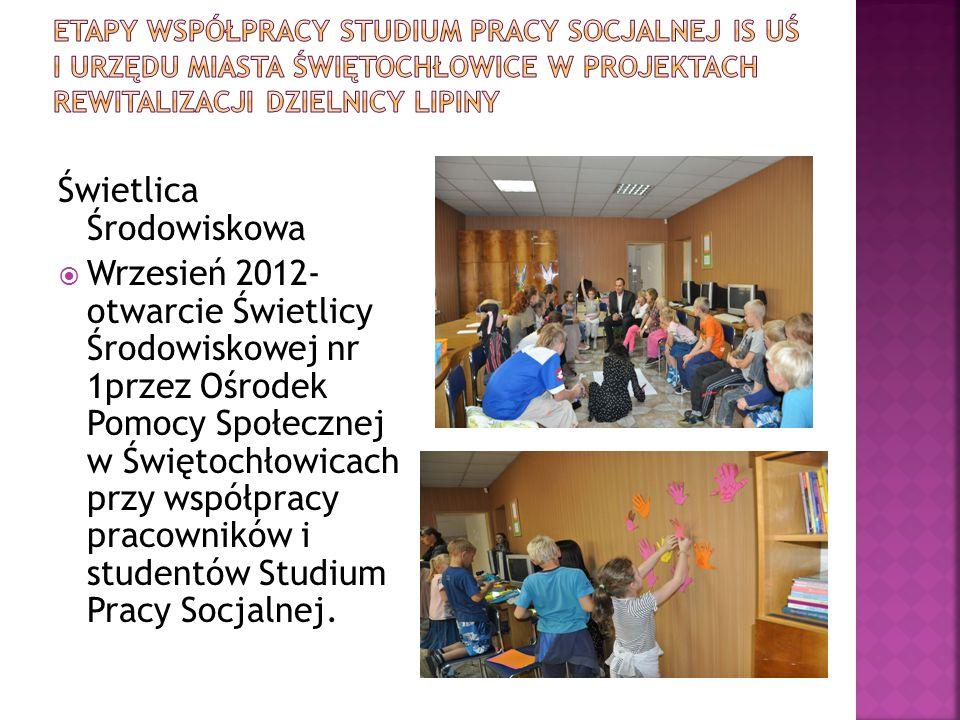 Świetlica Środowiskowa  Wrzesień 2012- otwarcie Świetlicy Środowiskowej nr 1przez Ośrodek Pomocy Społecznej w Świętochłowicach przy współpracy pracow