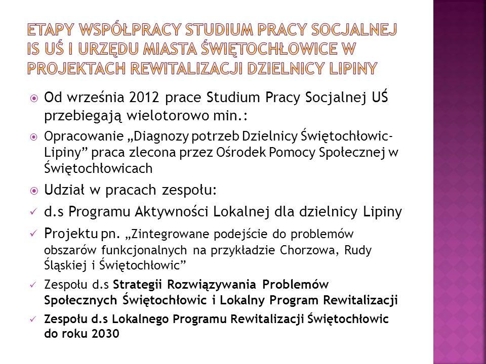 """ Od września 2012 prace Studium Pracy Socjalnej UŚ przebiegają wielotorowo min.:  Opracowanie """"Diagnozy potrzeb Dzielnicy Świętochłowic- Lipiny"""" pra"""