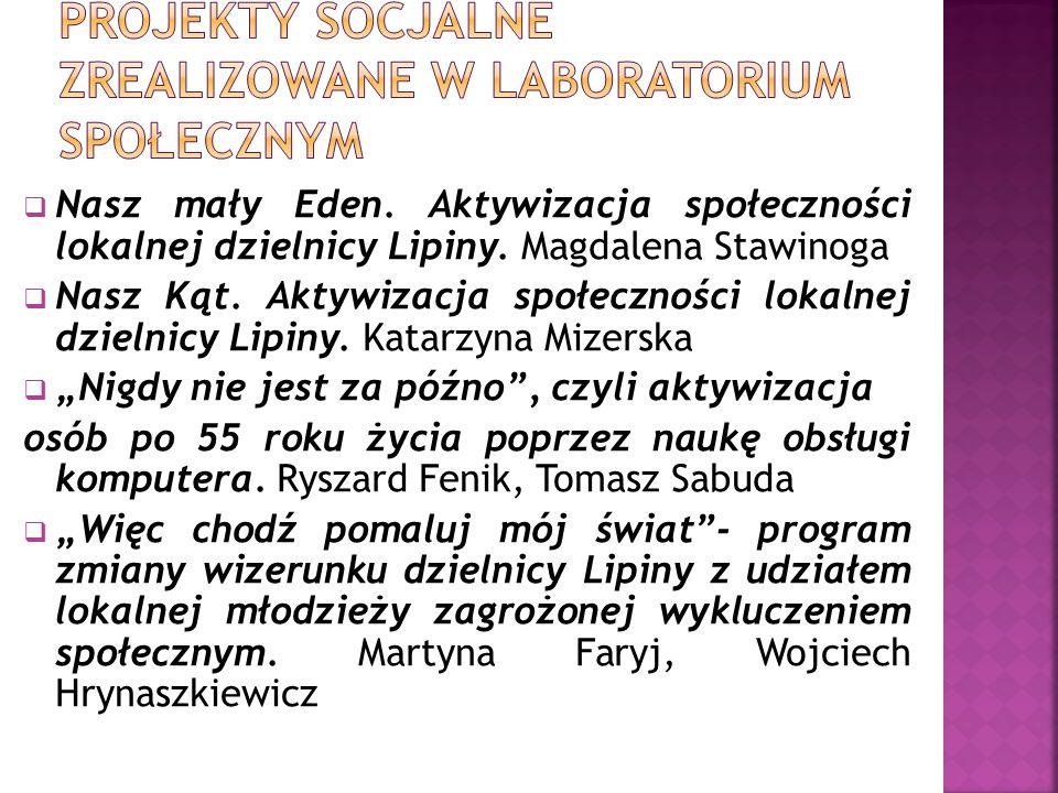  Nasz mały Eden. Aktywizacja społeczności lokalnej dzielnicy Lipiny. Magdalena Stawinoga  Nasz Kąt. Aktywizacja społeczności lokalnej dzielnicy Lipi