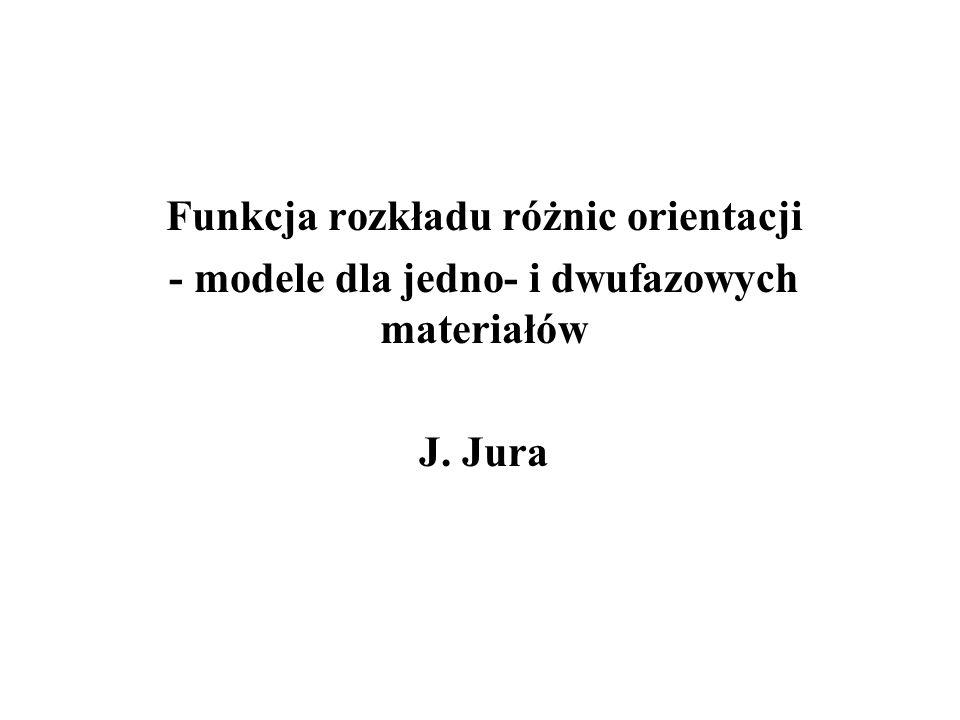 Funkcja rozkładu różnic orientacji - modele dla jedno- i dwufazowych materiałów J. Jura