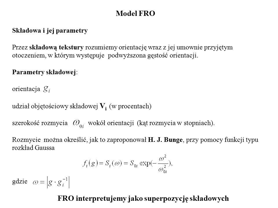 Model FRO Składowa i jej parametry Przez składową tekstury rozumiemy orientację wraz z jej umownie przyjętym otoczeniem, w którym występuje podwyższona gęstość orientacji.