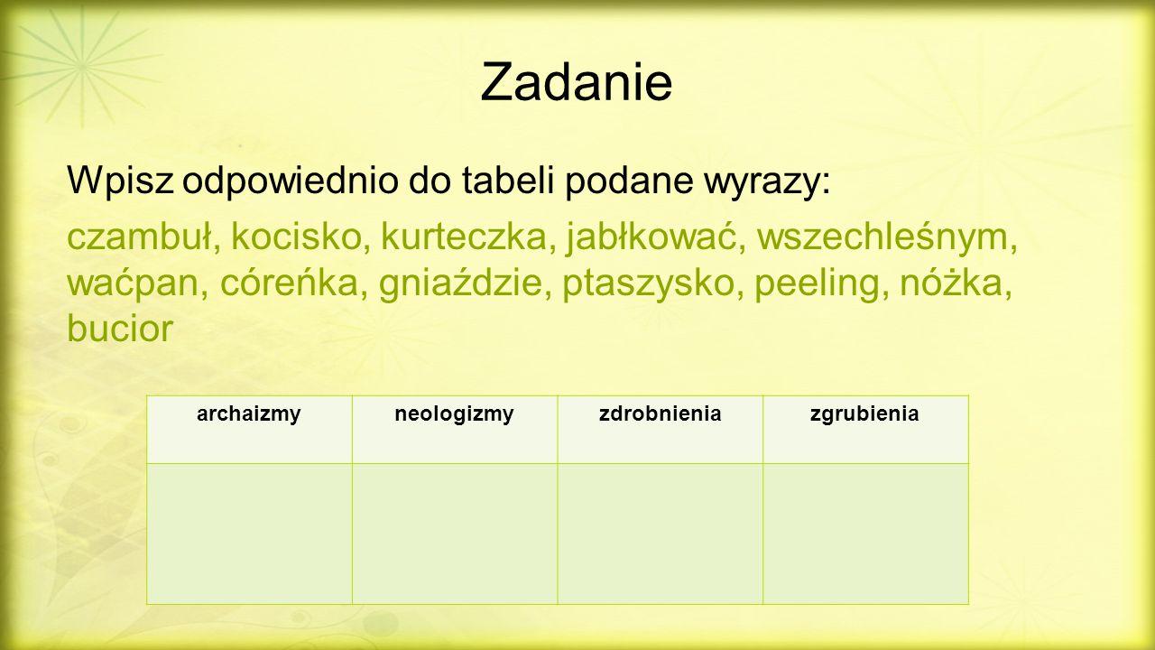 Zadanie Wpisz odpowiednio do tabeli podane wyrazy: czambuł, kocisko, kurteczka, jabłkować, wszechleśnym, waćpan, córeńka, gniaździe, ptaszysko, peelin