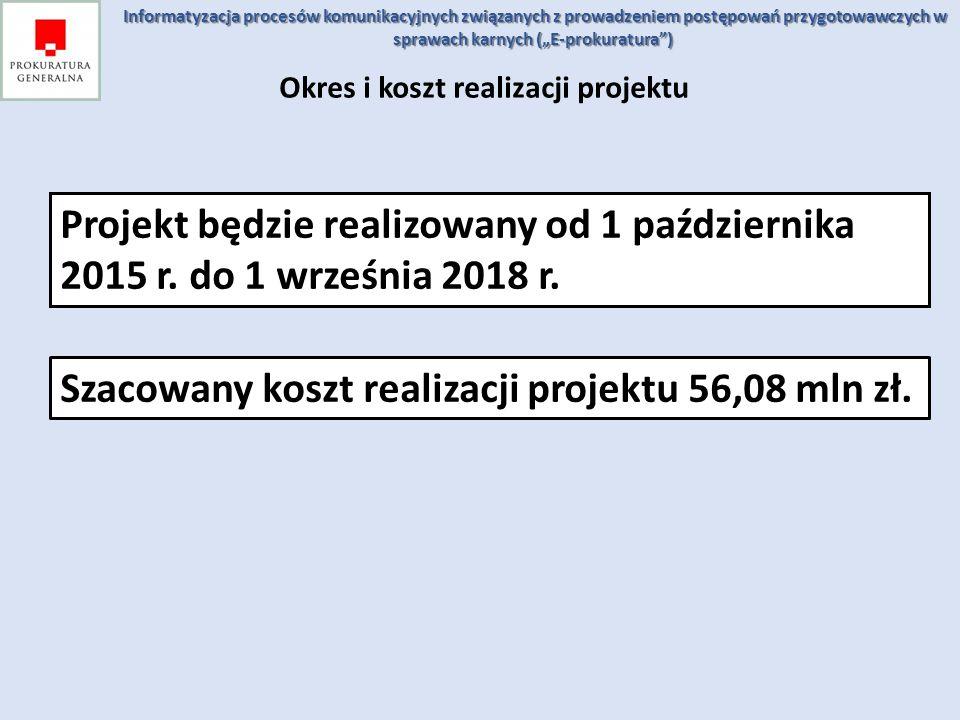 Okres i koszt realizacji projektu Projekt będzie realizowany od 1 października 2015 r. do 1 września 2018 r. Szacowany koszt realizacji projektu 56,08