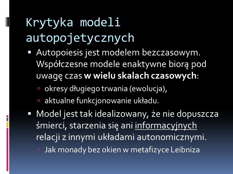 Krytyka modeli autopojetycznych  Autopoiesis jest modelem bezczasowym.