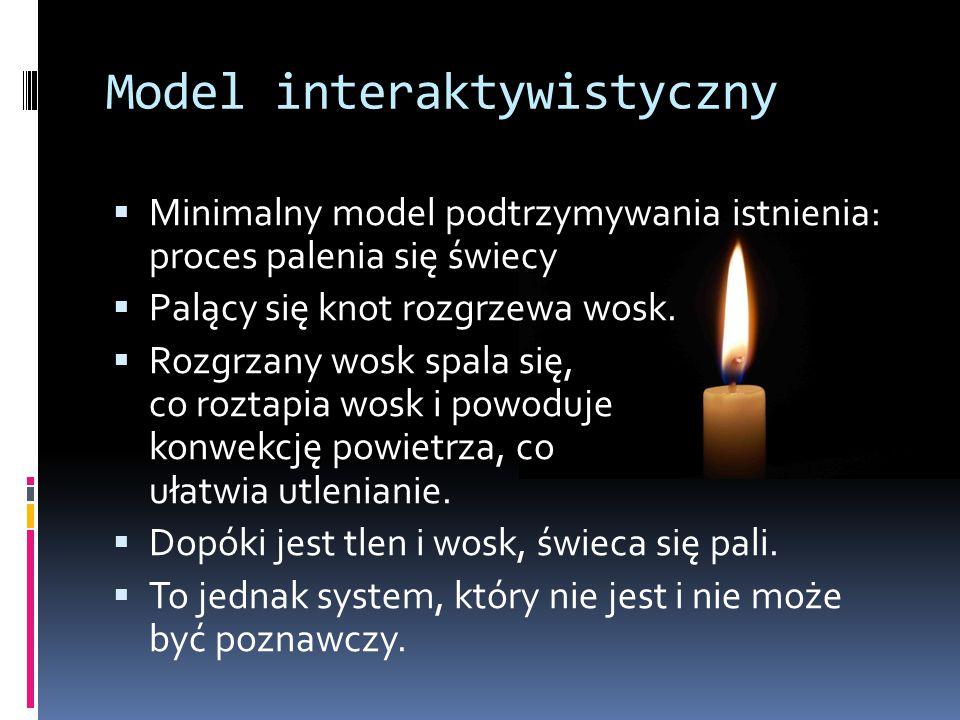 Model interaktywistyczny  Minimalny model podtrzymywania istnienia: proces palenia się świecy  Palący się knot rozgrzewa wosk.
